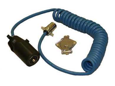 Blue Ox BX88254 Trailer Wiring Connector Adapter; 7-Way Blade to 4-Way Round; Coiled Wire