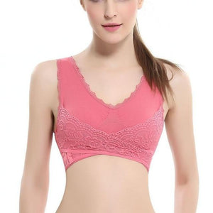 Pink / L Front Cross Adjustable Side Buckle Lace Bra