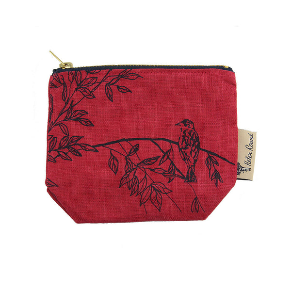 Linen Cosmetic Bag -  Birdsong