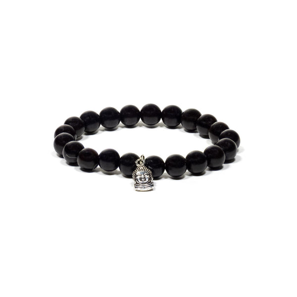 Mala/Bracelet Black Wood Elastic with Buddha