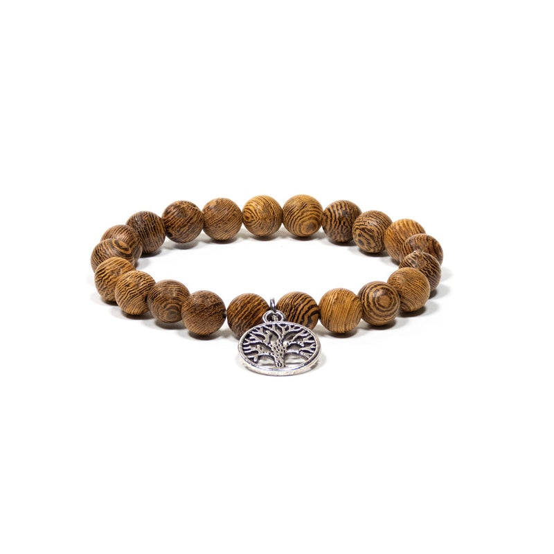 Mala/Bracelet Wenge Wood Elastic with Tree of Life