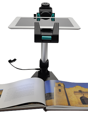 Doc camera stand with iPad inserted and book below