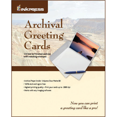 "InkPress Archival Greeting Cards 7"" X 10""/ 5"" X 7"" Duo Matte 80 - InkJet Supply Pro"