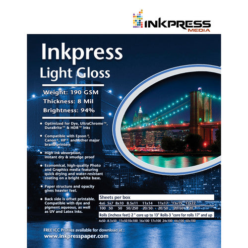 Inkpress Light Gloss 190 Paper Rolls - InkJet Supply Pro