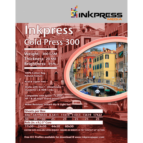 InkPress Cold Press 300 GSM Roll - InkJet Supply Pro