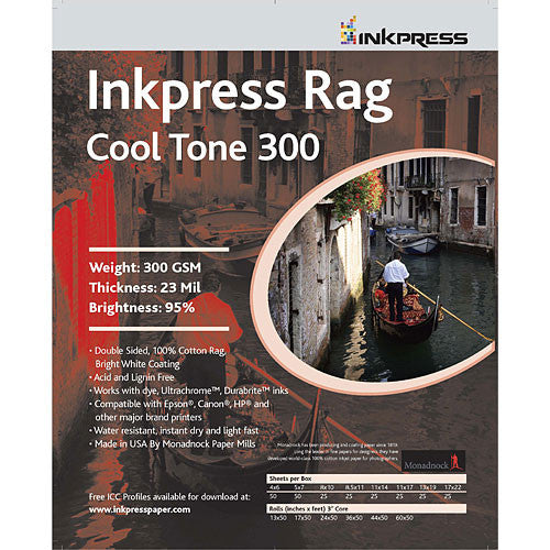 InkPress Rag Cool Tone 300 GSM Double-Sided Rolls - InkJet Supply Pro