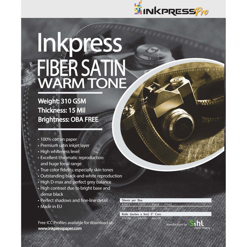 InkPress Fiber Satin Warm Tone Paper Rolls - InkJet Supply Pro