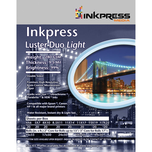 InkPress Luster Duo 280 Roll Double Sided - InkJet Supply Pro