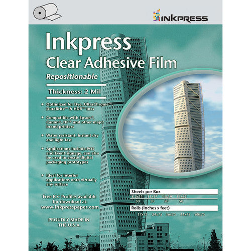 Inkpress Repositionable Adhesive Clear Film Rolls - InkJet Supply Pro