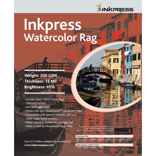 InkPress Watercolor Rag Roll - InkJet Supply Pro