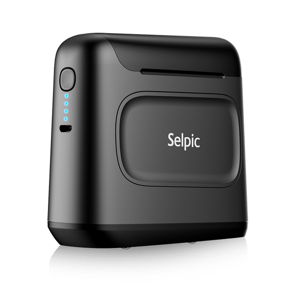 "Selpic S1+ 1.0"" Print Head Handy Printer + Quick-Drying Ink (Black) Cartridge Set - selpic"