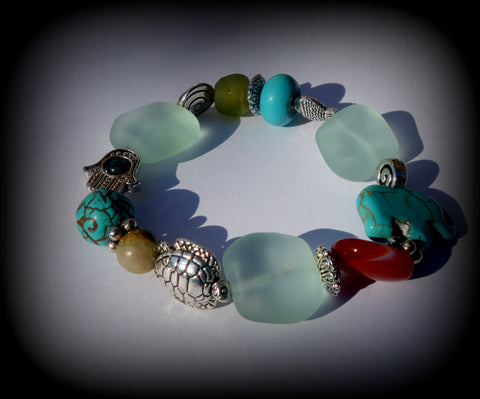 Recycled Bottle Glass and Gemstone Beaded Bracelet: Calm, Courage, Balance, and Luck!