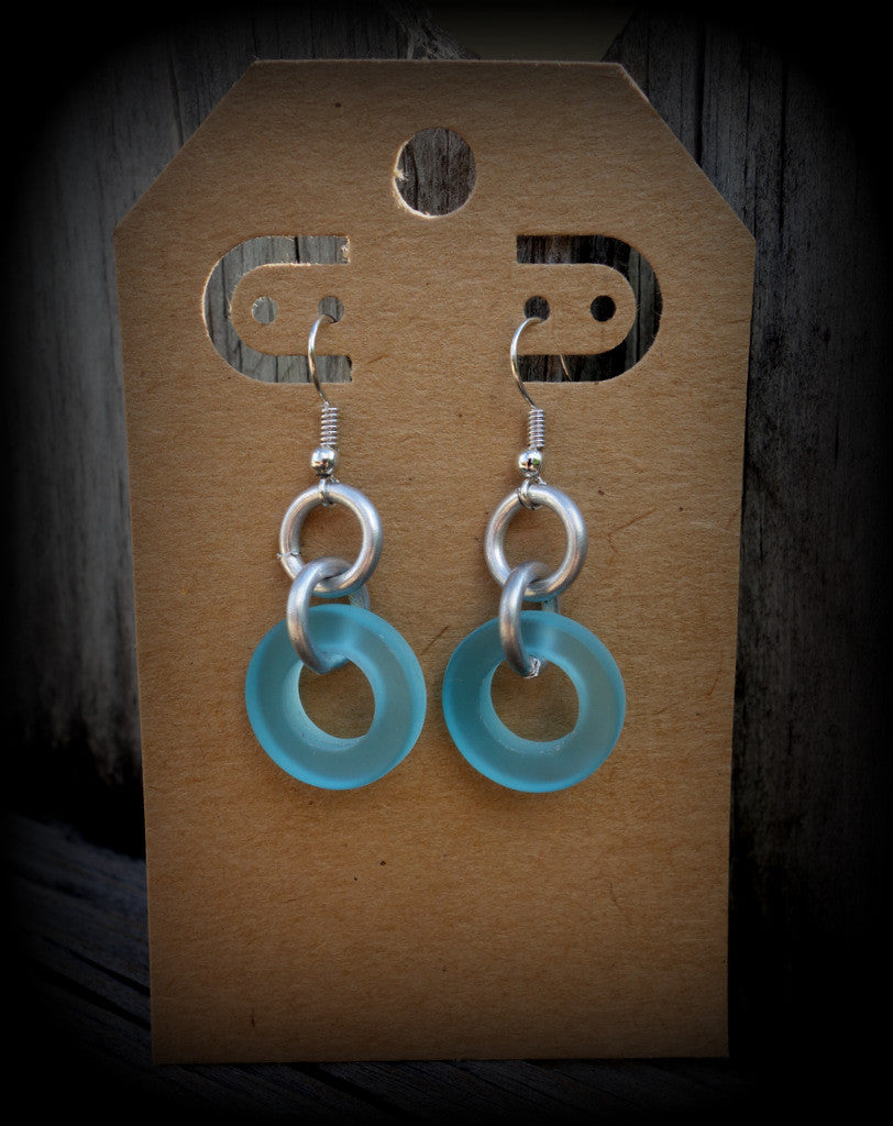 Sea Glass Industrial Chic Earrings: Bombay Aqua Jewelry Ships FREE! - RebornGlass.com