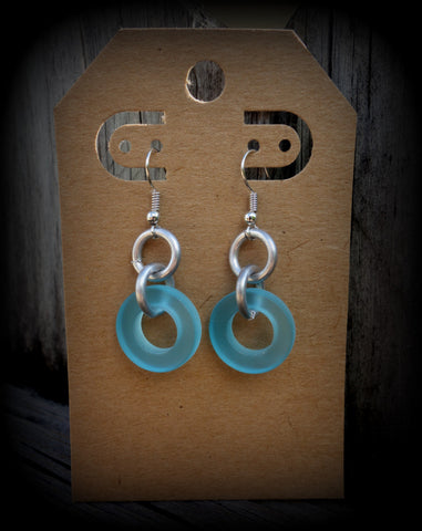Sea Glass Industrial Chic Earrings: Bombay Aqua Jewelry Ships FREE!
