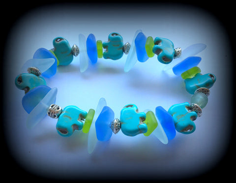 Lucky Elephant Sea Glass meditation Bracelet: