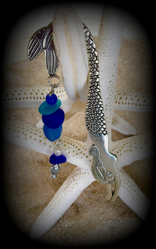 Mermaid and Sea Glass Bookmark by Reborn Glass - RebornGlass.com