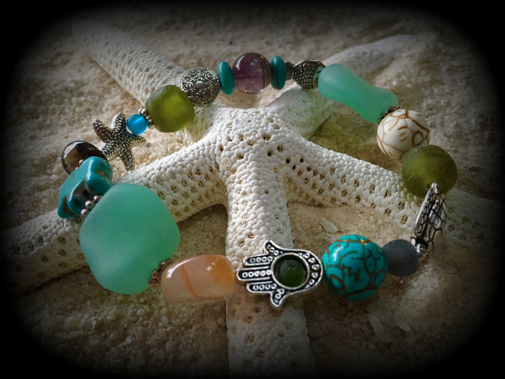 Bracelet Recycled Bottle Glass and Gemstone Beads: Relaxation, Patience, Confidence, and Luck! - RebornGlass.com