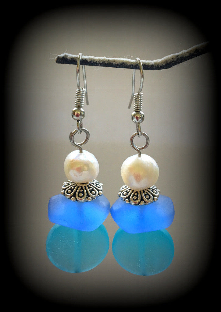 Sea Glass and Fresh Water Pearl Earrings Reborn Glass Surf Series - RebornGlass.com