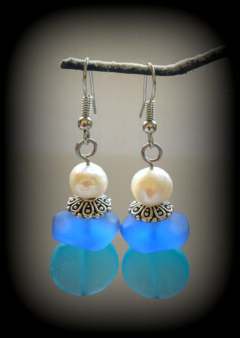 Sea Glass and Fresh Water Pearl Earrings Reborn Glass Surf Series