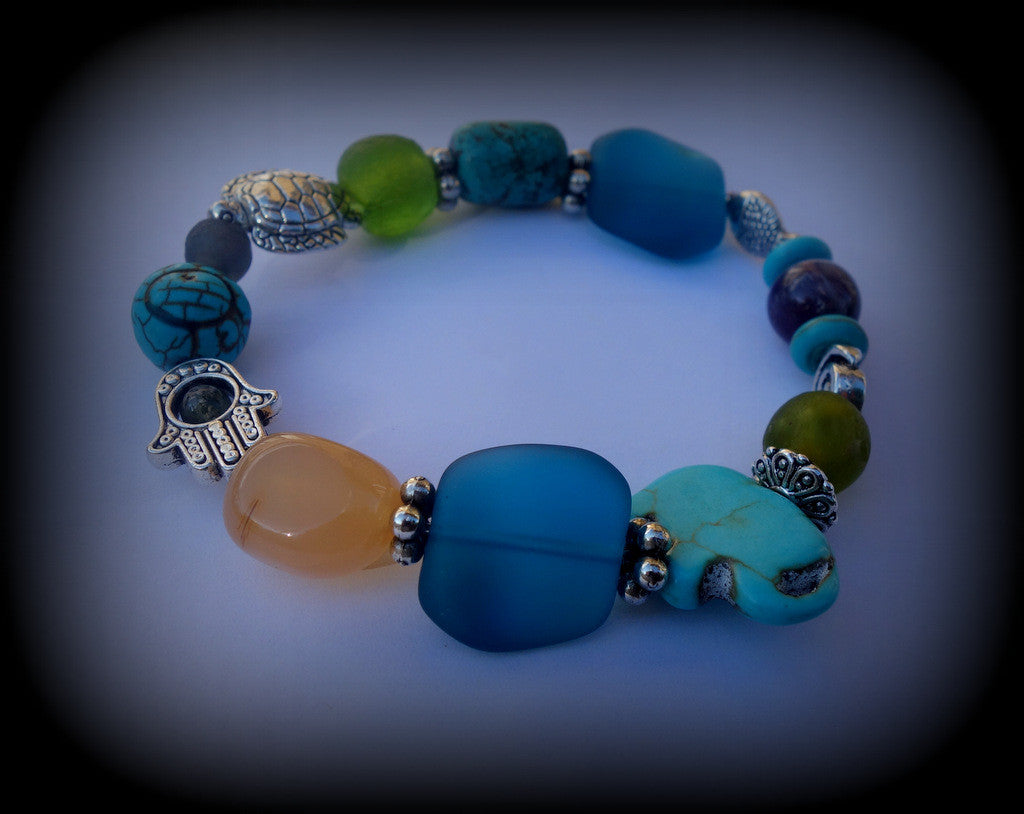 Sea Glass Prayer Bracelet Recycled Bottle Glass and Gemstone Beads: Relaxation, Patience, Confidence, and Luck! - RebornGlass.com