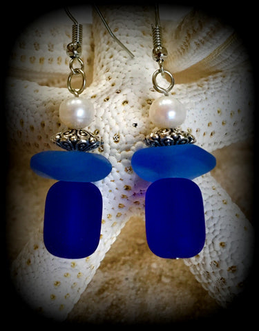 Sea Angels Fresh Water Pearl & Sea Glass Earrings by Reborn Glass -Cobalt