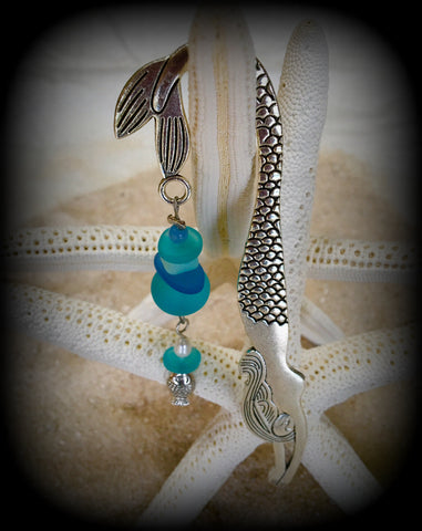 Mermaid and Sea Glass Bookmark by Reborn Glass with Fish