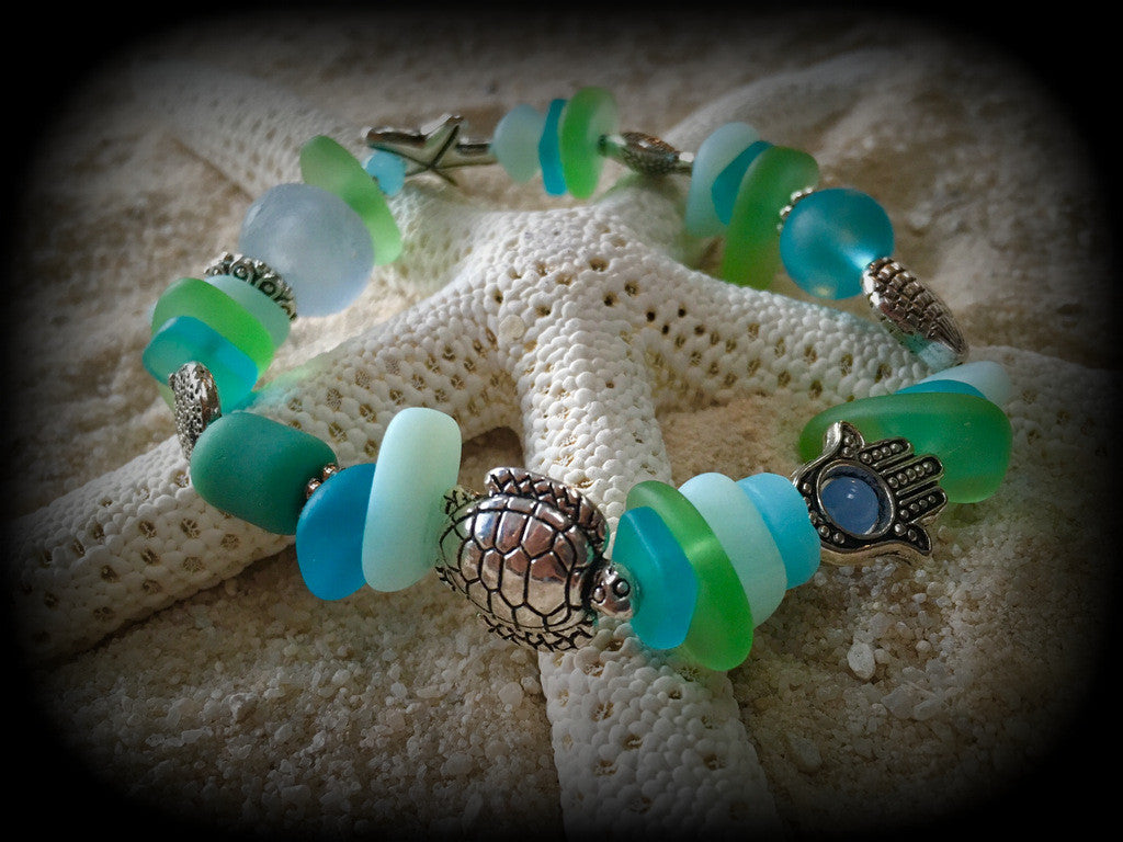 Bracelet Reborn Glass Surf Series: Sea Glass Stretch Bracelet - RebornGlass.com