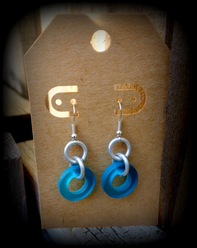 Sea Glass Industrial Chic Earrings: Cabo Wabo Teal Jewelry Ships FREE! - RebornGlass.com