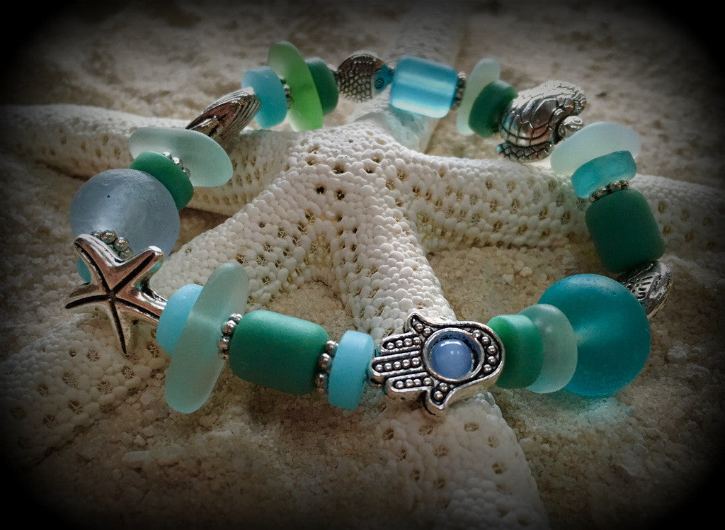 Goddess of the Sea--Seaglass Prayer Bracelet - RebornGlass.com