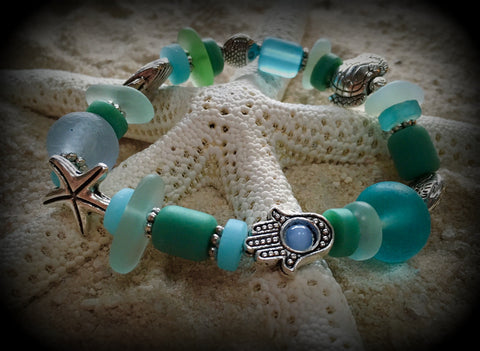 Goddess of the Sea--Seaglass Prayer Bracelet