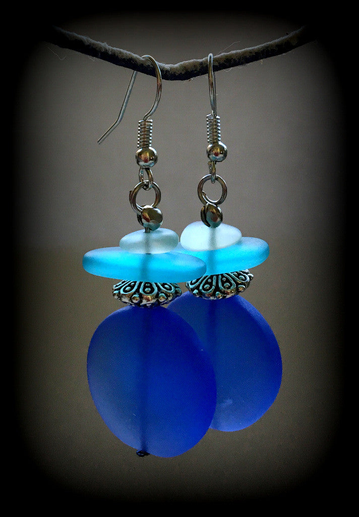 Sea Glass Earrings Reborn Glass Changing Tides Series - RebornGlass.com
