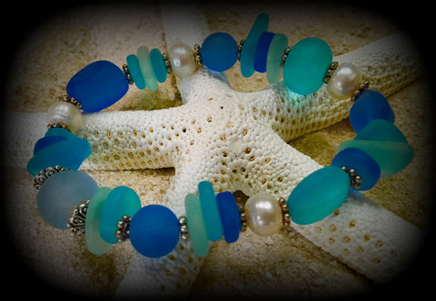 Goddess of the Sea-- Seaglass and Fresh Water Pearl Prayer Bracelet: