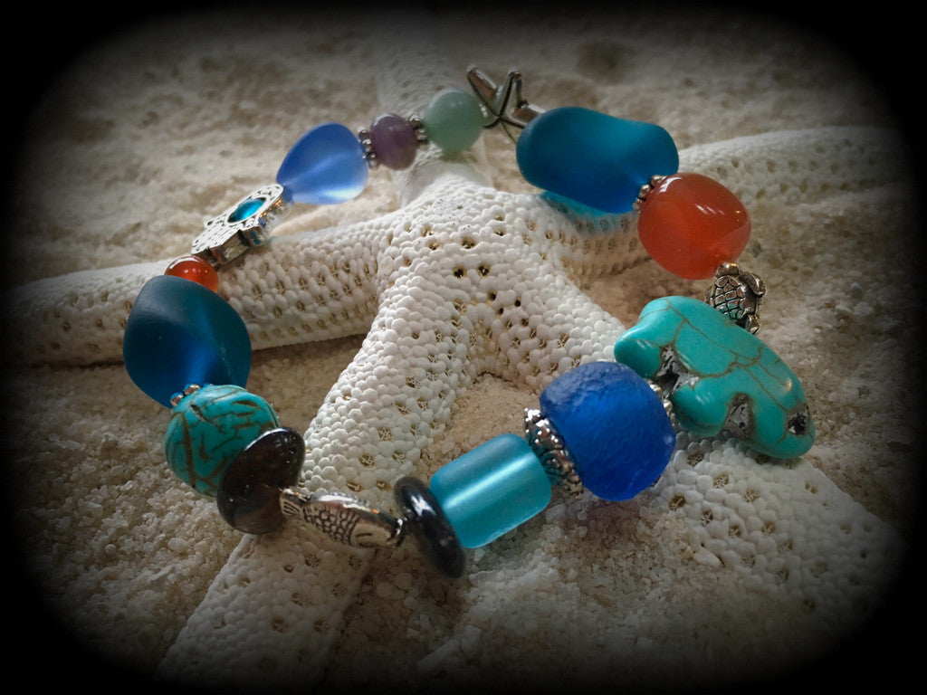 Bracelet Recycled Bottle Glass and Gemstone Beads: Calm, Courage, Harmony and Luck! - RebornGlass.com