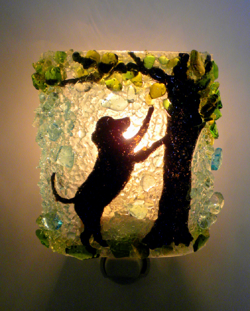 Dog - Barking up a Summer Tree Night Light - RebornGlass.com