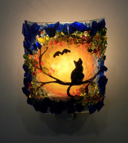 Cat and Bat Recycled Bottle Glass Night Light