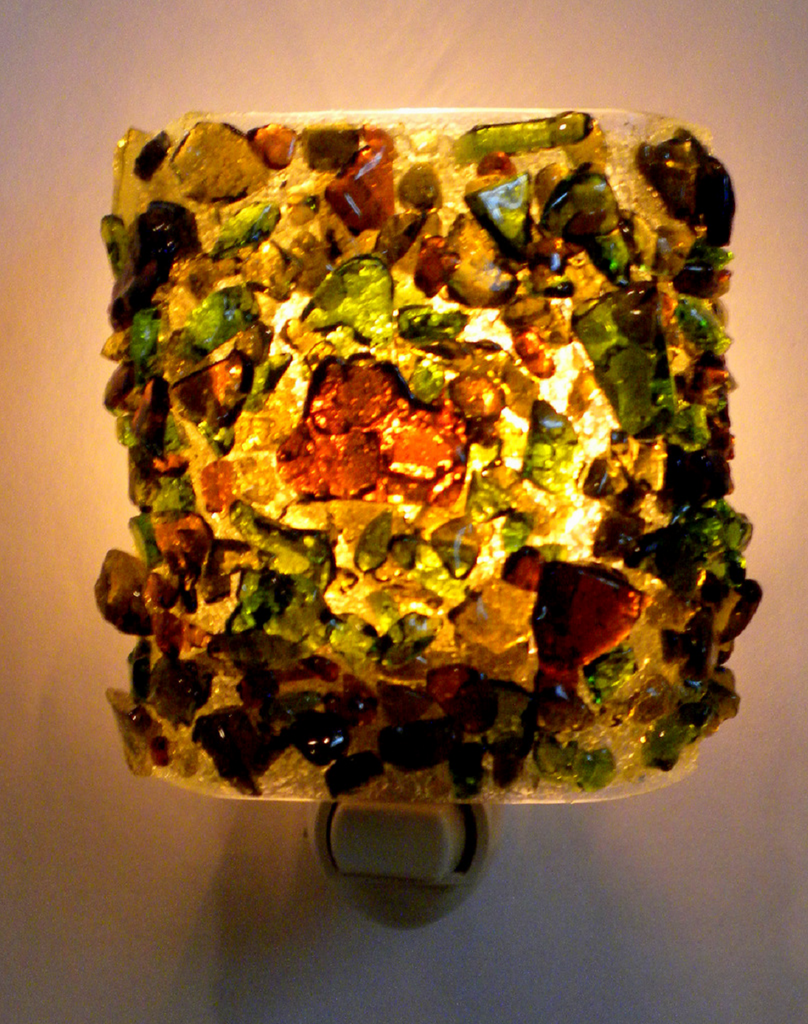 Beer and Wine Recycled Glass Night Light - RebornGlass.com