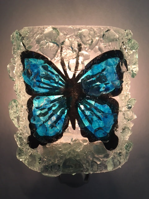 Blue Butterfly Night Light - RebornGlass.com
