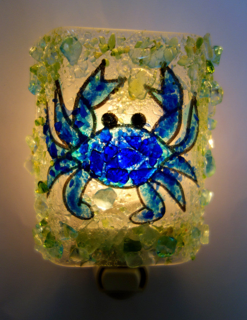 Blue Crab Night Light - RebornGlass.com