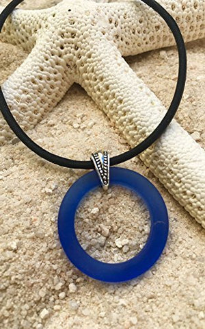 Cobalt Sea Glass Bottle Ring Necklace