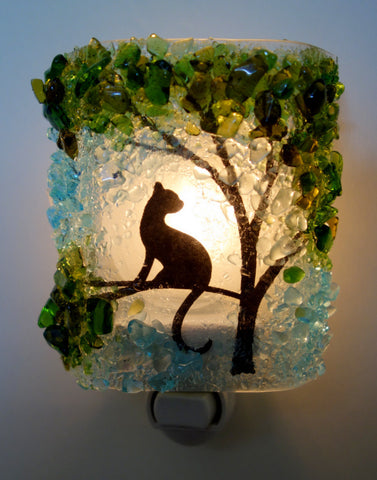 Cat In a Tree Reborn Glass Night Light