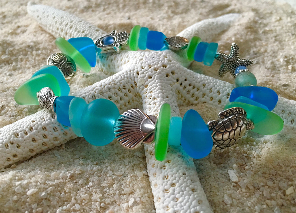 A Sea Glass Prayer Bracelet: Goddess of the Sea - RebornGlass.com