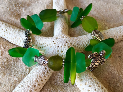 Bracelet Reborn Glass Green Goddess of the Sea Series: Sea Glass Stretch Bracelet