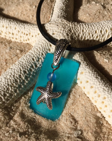 Sea Glass Starfish Charm Necklace