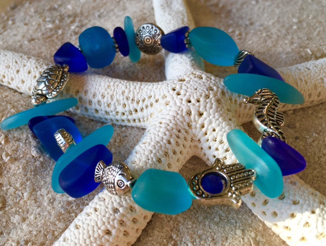 Bracelet Reborn Glass Changing Tides Series: Sea Glass Stretch Bracelet - RebornGlass.com