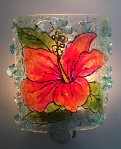 Tropical Hibiscus Flower Recycled Glass  Nightlight