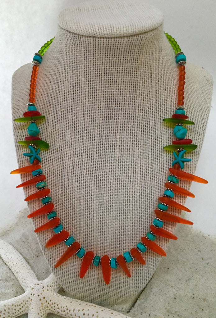 Sea Glass Tribal Style Necklace with Starfish by Reborn Glass--Turquoise & Tangerine - RebornGlass.com