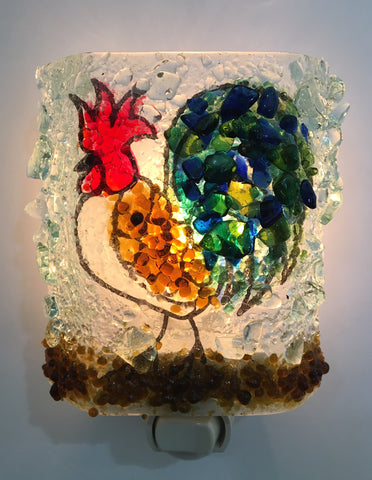 Rooster Reborn Glass Recycled Bottle Glass Night Light