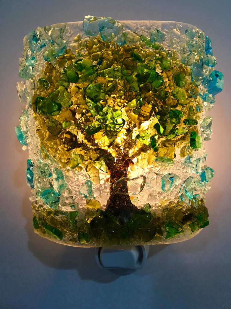All Mighty Oak Tree Recycled Glass  Nightlight - RebornGlass.com