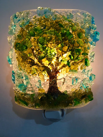 All Mighty Oak Tree Recycled Glass  Nightlight