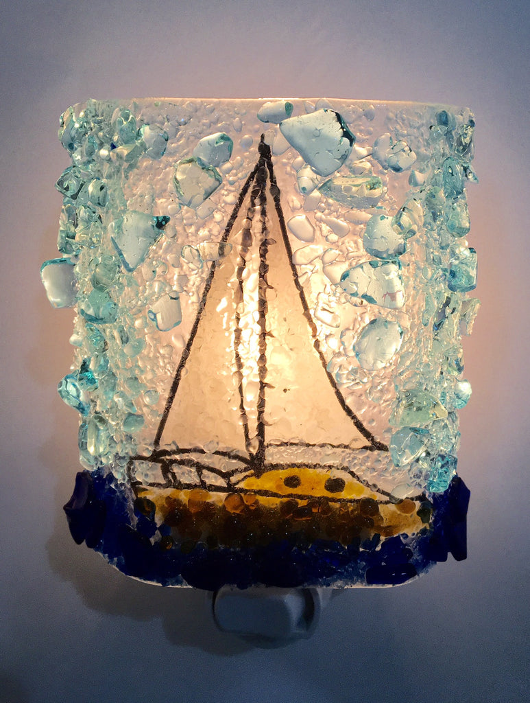 Sailboat Reborn Glass Night Light - RebornGlass.com